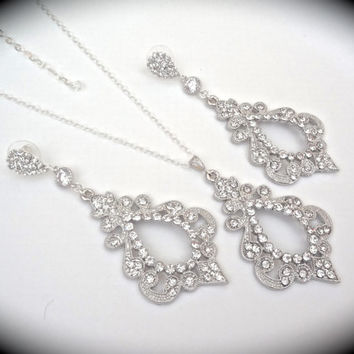 Crystal Rhinestone necklace ~ Large ~ Teardrop ~ Sterling Silver ~ Statement necklace ~ Bridal jewelry ~ Sparkling Rhinestones ~ EXOTIC