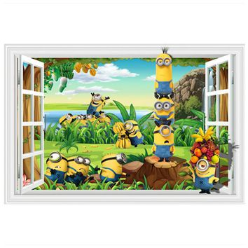 Baby favorite the Minions anime wall decals happy orchard 3d art fake window stickers for kids rooms decoration vinyl wallpaper