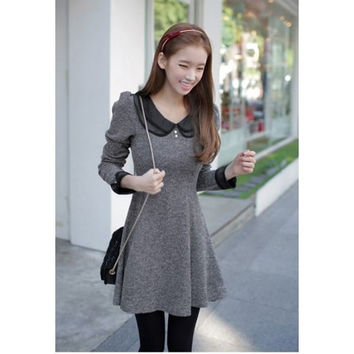 Gray Peter Pan Collar Long Sleeve Flounce Dress