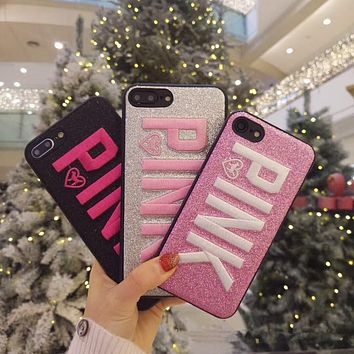 Victoria's Secret tide brand iphone7/8/6s embroidery mobile phone case anti-fall protection cover