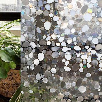 CottonColors Window Cover Films No-Glue 3D Static Stone Decorative Privacy Film Window Stickers 60 x 200cm
