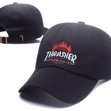 Black THRASHER Snapback Baseball Cao Hat