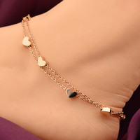 VO Lover Heart Anklet Foot Jewelry Rose Gold Titanium Steel Fashion Foot Chain