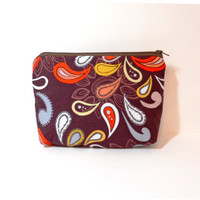 Medium Zipper Pouch Clutch Cosmetic Bag Pencil Case  Brown Paisley