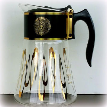 ATOMIC COFFEE CARAFE - David Douglas Design - 1960's Flameproof Glass - Mid Century Modern Kitchen - Flip Lid Spout  - Retro Black and Gold