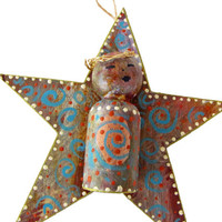 Star Wood  Ornament  Christmas Angel Assemblage Wall Hanging Christmas Art Ornaments Blue White Red