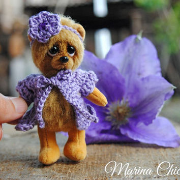 Artist Teddy Bear - OOAK Miniature collectible Teddy bear - Lily 3.7 inch. Hand sewn. Brown, beige, lilac