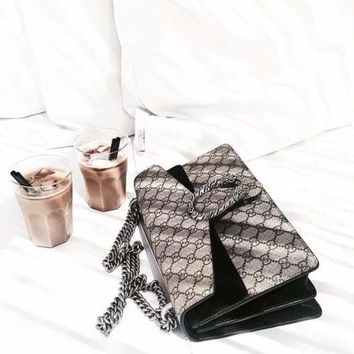 Gucci Fashion Ladies Print Leather Metal Chain Crossbody Shoulder Bag I