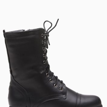 Black Faux Leather Lace Up Combat Boots @ Cicihot Boots Catalog:women's winter boots,leather thigh high boots,black platform knee high boots,over the knee boots,Go Go boots,cowgirl boots,gladiator boots,womens dress boots,skirt boots.