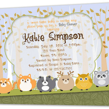 Woodland Baby Shower Invitation - Boy Baby Shower Invitations - Fox - Skunk - Raccoon - Deer - Forest Friends - Woods - Rustic - Hunter