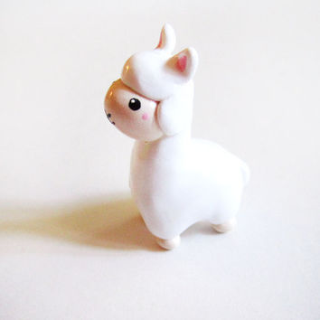 Miniature White Alpaca Figurine