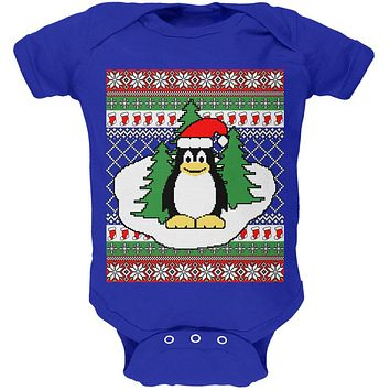 Penguin on Ice Ugly Christmas Sweater Soft Baby One Piece