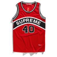 Supreme Fashion new bust and back letter number 40 print basketball vest t-shirt top jersey Red