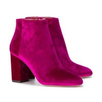 Aquazzura Pink Brooklyn 85 Velvet Ankle Boots - Farfetch
