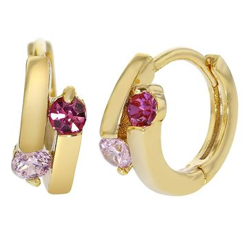 18k Yellow Gold Plated Small Hoop Huggie Pink Crystal Children's Earrings 8mm