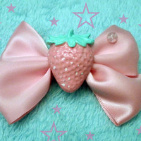 Kawaii Pink Pastel Strawberry Bow Hairclip by KreepyKawaii on Etsy
