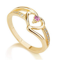 Gold Heart Ring, Love Ring Heart, Promise Ring 925 Sterling Silver Plated in 18k Gold