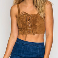 Khaki Suedette Lace Up Front Crop Cami Top