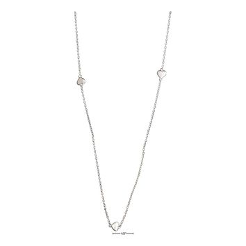 """STERLING SILVER 36"""" SMALL SHINY HEARTS NECKLACE"""