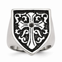 Men's Stainless Steel Cross with Black Diamond Antiqued Shield Ring: RingSize: 10