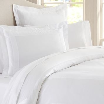 ITALIAN 600-THREAD-COUNT SATEEN DUVET COVER & SHAM - WHITE