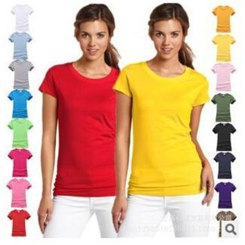 Fashion pure cotton short sleeved women's tshirt bottoming t shirt women candy colors female t-shirts top tee shirt 17 colors
