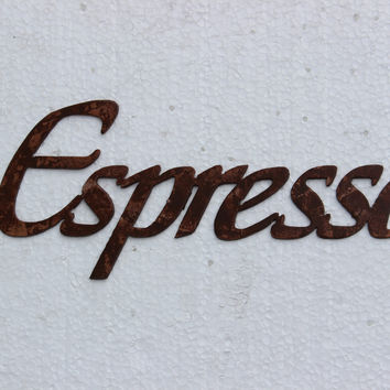 Espresso Word Kitchen Art Antique Copper Metal Wall Art Decor