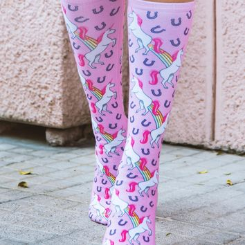 Unicorn and Rainbows Knee High Socks
