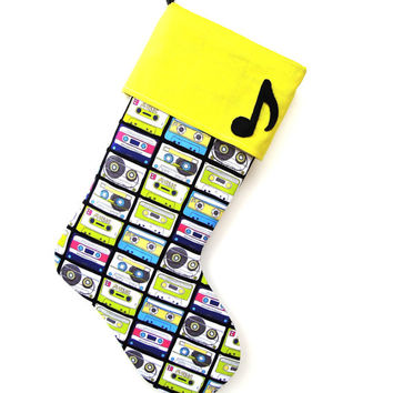 Music Christmas Stocking, Neon Stocking, Cassette Tape Stocking, Music Note Stocking