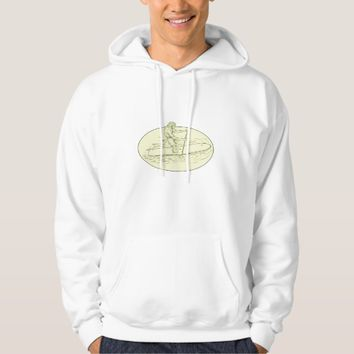 Surfer Dude Stand Up Paddle Oval Drawing Hoodie