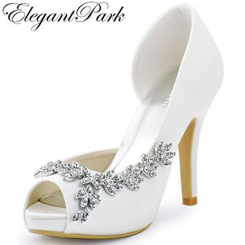 Women Platform High Heels Bridal Wedding Shoes Ivory White Rhinestones Peep  toe Bride Bridesmaids Prom Pumps b42e0e5b2e
