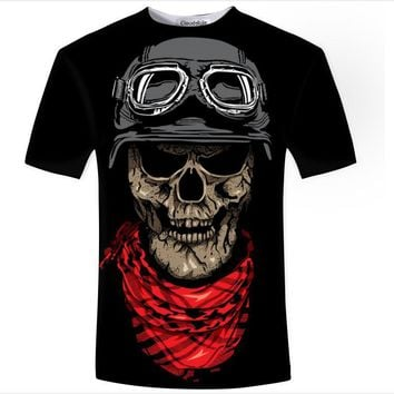 Motorcycle Skull Print 3D Print Both Side Hip Hop Short Sleeve Mens