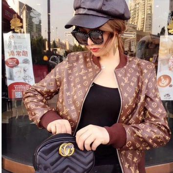 Lv Spring And Autumn New Long Sleeved Slim Motorcycle Leather Jacket Womens Tide