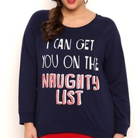 Plus Size Long Sleeve French Terry Top with Naughty List Screen