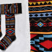 AZTEC MYSTIQUE, WOMEN'S KNEE-HIGH SOCK, AZTEC DESIGN