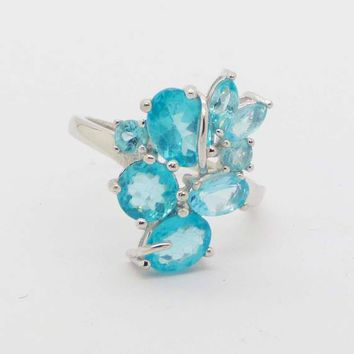 Pear Cut Neon Blue Apatite 14k White Gold over Sterling Silver Ring, Size 7