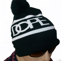Black Beanie Ball Style DOPE Hat