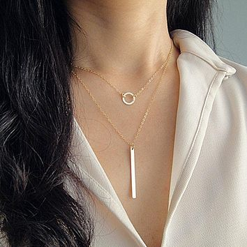 Women Simple Gold Ring Circle Bar Pendant Tassel Alloy Short Necklace