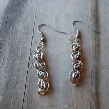 Iridescent Bead Chainmail Earrings
