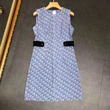 Dior Women Short Sleeve Print Pattern Dress