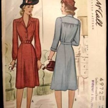 Vintage McCalls Sewing Pattern 4972 Miss Belted Dress Sz 14 42