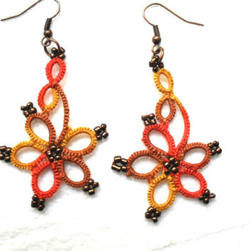 Handmade tatted earrings, multicolore earrings, lace earrings, lace jewelry