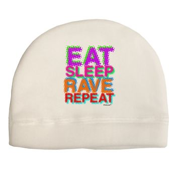 Eat Sleep Rave Repeat Color Adult Fleece Beanie Cap Hat by TooLoud