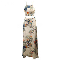 Elegant long dress two pieces backless halter cross maxi dress flower print boho style