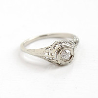 Antique 14k White Gold Art Deco Old European Diamond Ring - Size 6 1/4 Vintage Filigree 1920s 1930s Wedding Engagement Fine Jewelry