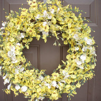 Yellow and White Orchid Wreath