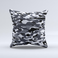 Traditional Black & White Camo Ink-Fuzed Decorative Throw Pillow