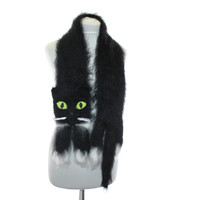 Knitted Scarf / Fuzzy Soft Scarf / black white сat / cat scarf / knitted cat scarf / Knit scarf / animal scarf