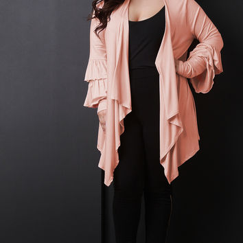 Plus Size Ruffle Sleeves Cardigan | UrbanOG