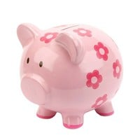C.R. Gibson Floral Piggy Bank (Pink)